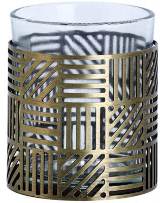 Yankee Candle Crosshatch Brass szklany świecznik na sampler
