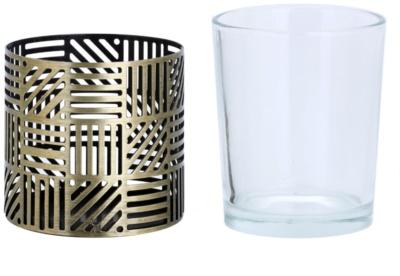 Yankee Candle Crosshatch Brass szklany świecznik na sampler 1