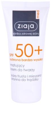 Ziaja Med Protecting UVA + UVB матиращ слънцезащитен крем за лице SPF 50+