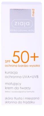 Ziaja Med Protecting UVA + UVB Protetor solar com efeito mate para o rosto. SPF 50+ 2