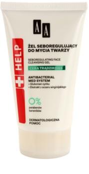 AA Cosmetics Help Acne Skin gel de limpeza para reduzir o sebo