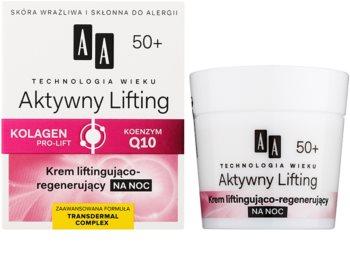 AA Cosmetics Age Technology Active Lifting crema de noapte regeneratoare pentru fermitate 50+