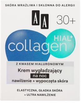 AA Cosmetics Collagen HIAL+ glättende Nachtcreme 30+