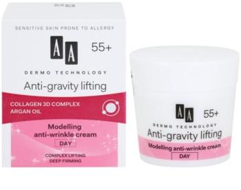 AA Cosmetics Dermo Technology Anti-Gravity Lifting krema za modeliranje protiv bora 55+