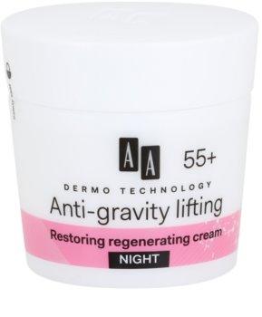 AA Cosmetics Dermo Technology Anti-Gravity Lifting obnovující noční krém s regeneračním účinkem 55+