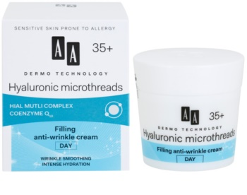 AA Cosmetics Dermo Technology Hyaluronic Microthreads cremă de zi antirid cu efect de umplere 35+