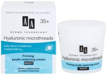 AA Cosmetics Dermo Technology Hyaluronic Microthreads  подмладяващ и изглаждащ нощен крем 35+