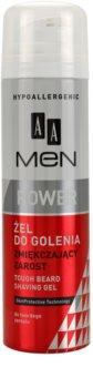 AA Cosmetics Men Power změkčující gel na holení pro tvrdé vousy