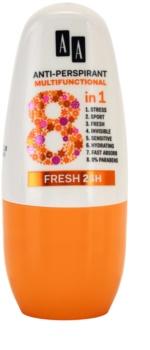 AA Cosmetics Multifunctional Fresh 24H antiperspirant roll-on 8 v 1