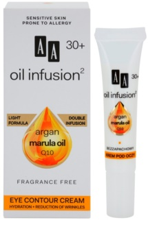 AA Cosmetics Oil Infusion2 Argan Marula 30+ crème anti-rides yeux effet hydratant