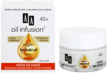AA Cosmetics Oil Infusion2 Argan Tsubaki 40+ denní krém pro obnovu pevnosti pleti s protivráskovým účinkem