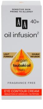AA Cosmetics Oil Infusion2 Argan Tsubaki 40+ crème nourrissante réductrice de rides yeux
