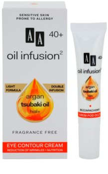 AA Cosmetics Oil Infusion2 Argan Tsubaki 40+ θρεπτική κρέμα ματιών για μείωση των ρυτίδων