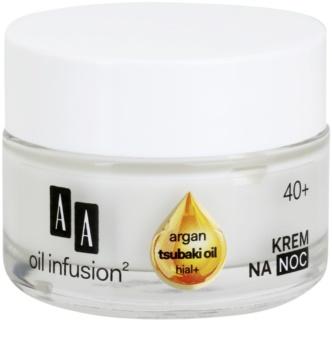 AA Cosmetics Oil Infusion2 Argan Tsubaki 40+ regeneračný nočný krém s protivráskovým účinkom