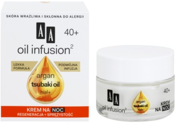 AA Cosmetics Oil Infusion2 Argan Tsubaki 40+ Regenerating Night Cream with Anti-Ageing Effect