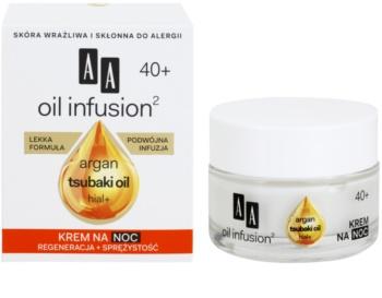 AA Cosmetics Oil Infusion2 Argan Tsubaki 40+ regenerirajuća noćna krema s učinkom protiv bora