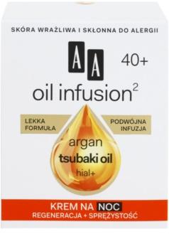 AA Cosmetics Oil Infusion2 Argan Tsubaki 40+ αναγεννητική κρέμα νύχτας με αντιρυτιδικά αποτέλεσματα