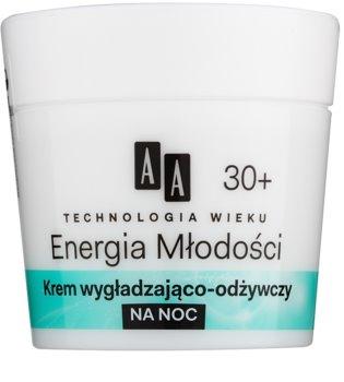 AA Cosmetics Age Technology Youthful Vitality noční vyhlazující a výživný krém 30+