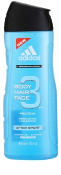 Adidas 3 After Sport gel douche pour homme 400 ml