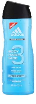 Adidas 3 After Sport tusfürdő gél férfiaknak 400 ml