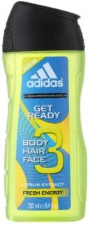 Adidas Get Ready! Τζελ για ντους για άνδρες 250 μλ 2 σε 1