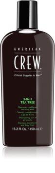 American Crew Hair & Body 3-IN-1 Tea Tree шампунь, кондиціонер та гель для душу 3в1 для чоловіків