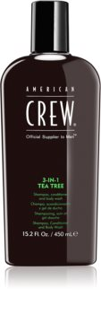 American Crew Hair & Body 3-IN-1 Tea Tree šampon, regenerator i gel za tuširanje 3 u 1 za muškarce