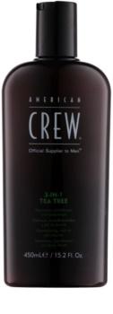 American Crew Tea Tree champô, condicionador e gel de duche 3 em 1 para homens