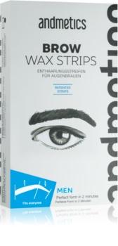 andmetics Wax Strips αποτριχωτικές ταινίες κεριού για τα φρύδια για άντδρες