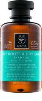 Apivita Holistic Hair Care Nettle & Propolis Shampoo für fettige Haare und trockene Haarspitzen