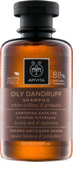 Apivita Holistic Hair Care White Willow & Propolis champô anticaspa para cabelo oleoso