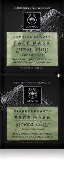 Apivita Express Beauty Green Clay masque visage purifiant en profondeur pour une peau lumineuse