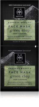 Apivita Express Beauty Green Clay tiefenreinigende Gesichtsmaske zur Verjüngung der Gesichtshaut