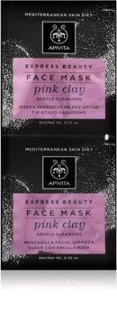 Apivita Express Beauty Pink Clay jemná čisticí pleťová maska pro okamžité rozjasnění