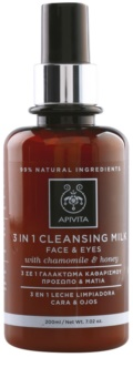 Apivita Cleansing Chamomile & Honey leite de limpeza 3 em 1  para rosto e olhos