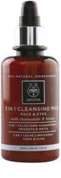 Apivita Cleansing Chamomile & Honey очищуюче молочко 3 в 1 для обличчя та очей