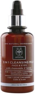 Apivita Cleansing Chamomile & Honey lait nettoyant 3 en 1 visage et yeux