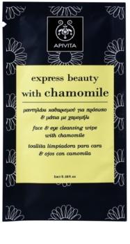 Apivita Express Beauty Chamomile toalhete para limpeza e remoção de maquilhagem para rosto e olhos