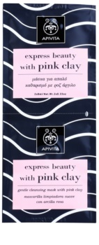 Apivita Express Beauty Pink Clay sanfte Reinigungsmaske für das Gesicht