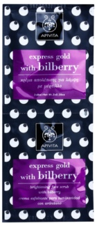 Apivita Express Gold Bilberry Peeling Masker  voor Stralende Huid