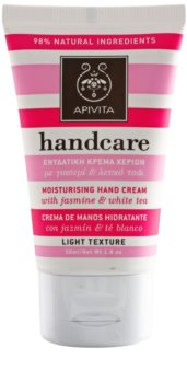 Apivita Hand Care Jasmine & White Tea hidratante leve para mãos
