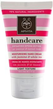 Apivita Hand Care Jasmine & White Tea ελαφριά ενυδατική κρέμα για τα χέρια