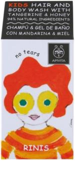 Apivita Kids Tangerine & Honey Shampoo en Douchegel 2in1 voor Kinderen