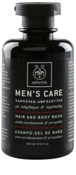 Apivita Men's Care Cardamom & Propolis sampon és tusfürdő gél 2 in 1