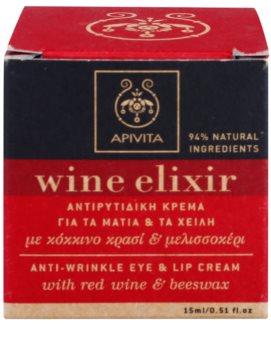 Apivita Wine Elixir Red Wine & Beeswax Anti-Faltencreme für den  Augen - und Lippenbereich