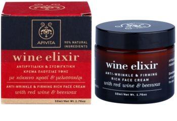 Apivita Wine Elixir Red Wine & Beeswax crema antiarrugas reafirmante para pieles secas
