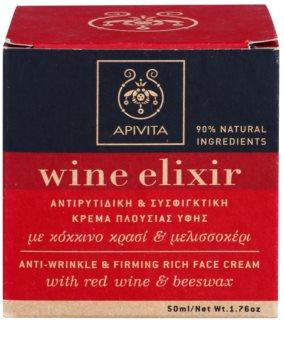Apivita Wine Elixir Red Wine & Beeswax festigende Anti-Faltencreme für trockene Haut