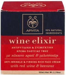 Apivita Wine Elixir Red Wine & Beeswax učvršćujuća krema protiv bora za suho lice