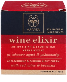 Apivita Wine Elixir Red Wine & Beeswax Festigende Nachtcreme gegen Falten
