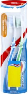 Aquafresh Clean & Flex cepillo de dientes medio 2 uds